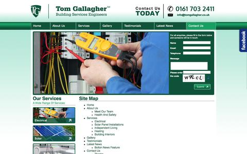 Screenshot of Site Map Page tomgallagher.co.uk - Contact Us - captured Oct. 7, 2014