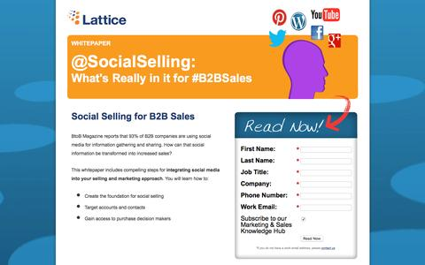 Screenshot of Landing Page lattice-engines.com - Social Selling: What's Really In It for B2B Sales - captured Dec. 15, 2015