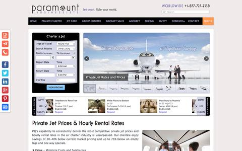 Screenshot of Pricing Page paramountbusinessjets.com - Private Jet Charter - Hourly Rental Rates & Prices - captured July 11, 2016