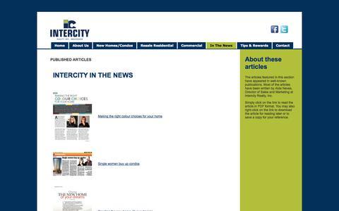 Screenshot of Press Page intercityrealty.com - Published Articles - captured Sept. 30, 2014