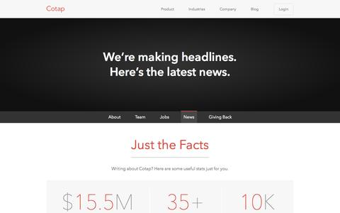 Screenshot of Press Page cotap.com - Cotap - Mobile Messaging News and Press - captured Oct. 31, 2014