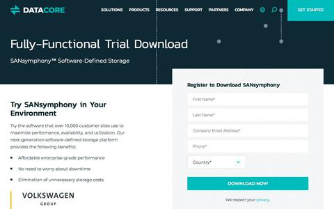 Screenshot of Trial Page datacore.com - Download SANsymphony™ Free Trial | DataCore Software - captured Sept. 19, 2018