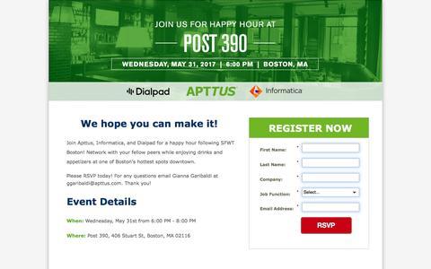 Screenshot of Landing Page apttus.com - SFWT Boston Happy Hour 2017 - captured May 23, 2017