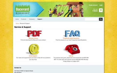 Screenshot of Support Page swingsetsonline.com - Service & Support – Backyard Discovery - captured Nov. 3, 2014