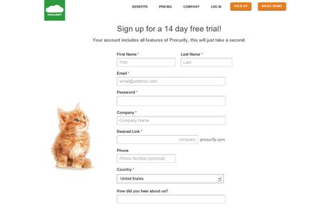Screenshot of Signup Page procurify.com - Purchasing Software 14-Day FREE Trial - Procurify - captured July 20, 2014
