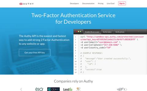Screenshot of Developers Page authy.com - 2-Factor Authentication Service for Developers | Authy - captured Oct. 28, 2014