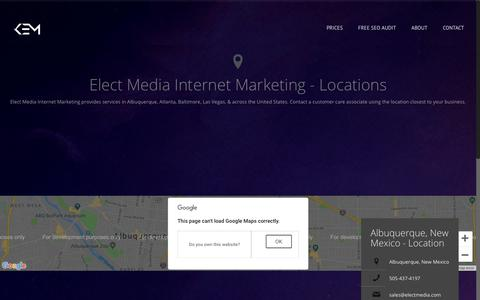 Screenshot of Contact Page Locations Page electmedia.com - Locations - KEM Internet Marketing - captured Nov. 4, 2018