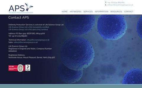 Screenshot of Contact Page antibodyproduction.co.uk - Contact - Antibody Production - captured Nov. 12, 2018