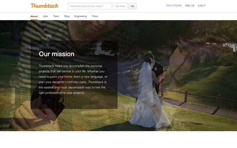 Screenshot of About Page thumbtack.com - About Thumbtack - Thumbtack - captured Sept. 11, 2014