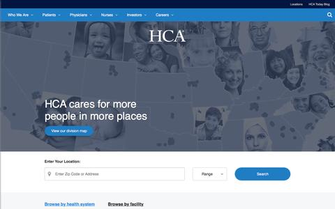 Screenshot of Locations Page hcahealthcare.com - Location Search | HCA Healthcare - captured June 22, 2016