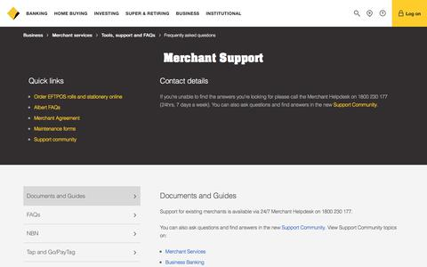 Screenshot of FAQ Page commbank.com.au - Merchant services - FAQ - CommBank - captured Oct. 10, 2017