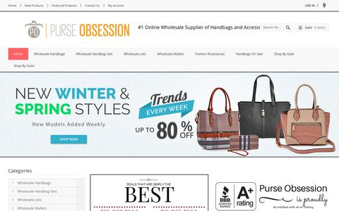 Screenshot of Home Page purse-obsession.com - Purse-Obsession.com: #1 Source of Wholesale Handbags, Wallets, and Fashion Accessories - captured Jan. 22, 2017