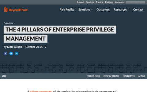 Screenshot of Team Page beyondtrust.com - The 4 Pillars of Enterprise Privilege Management | BeyondTrust - captured Jan. 3, 2020