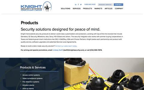 Screenshot of Products Page knightsecurity.com - Products | Knight Security Systems - captured Oct. 17, 2017