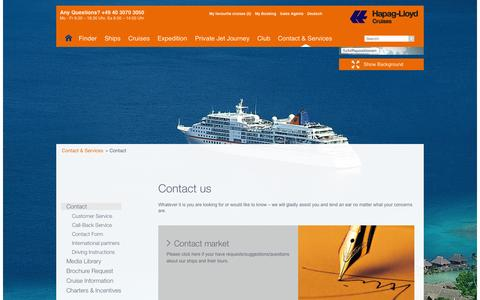 Screenshot of Contact Page hl-cruises.com - Contact - Hapag-Lloyd Cruises - captured Nov. 3, 2014