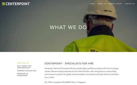 Screenshot of About Page centerpoint.sg - What We Do — CENTERPOINT - captured Jan. 26, 2016
