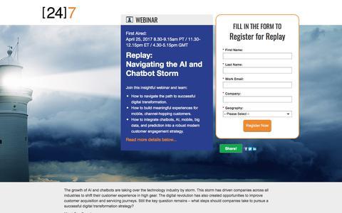 Screenshot of Landing Page 247-inc.com - Webinar Registration: Navigating the AI and Chatbot Storm - captured Sept. 11, 2017
