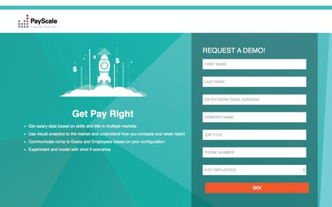 Screenshot of Landing Page Demo Page payscale.com - Request a Demo - captured Oct. 27, 2016