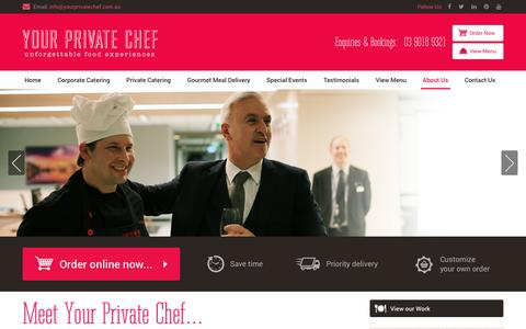 Screenshot of About Page yourprivatechef.com.au - Private Chef Melbourne | David Kolembus | Dinner Party Chef - captured March 22, 2016
