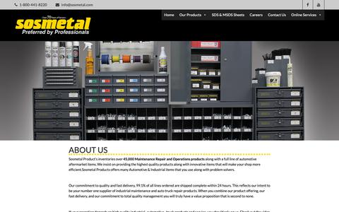 Screenshot of About Page sosmetal.net - About Us ~ Sosmetal Products - captured Nov. 16, 2018