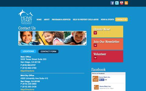 Screenshot of Contact Page home-start.org - Contact Us | Home Start - captured Oct. 2, 2014