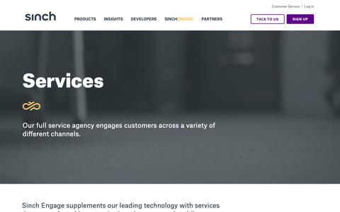 Screenshot of Services Page sinch.com - Services | Sinch Engage - captured June 20, 2019