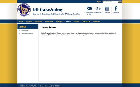 Screenshot of Services Page bellechasseacademy.org - Services / Homepage - captured Aug. 1, 2018