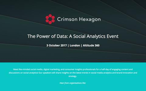 Screenshot of Landing Page crimsonhexagon.com - The Power of Data: A Social Analytics Event - captured March 3, 2018