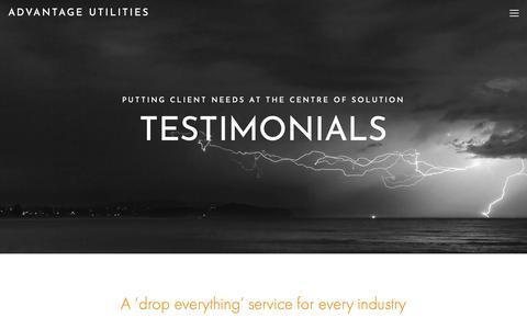 Screenshot of Testimonials Page advantageutilities.com - Testimonials — Advantage Utilities - captured Dec. 18, 2018