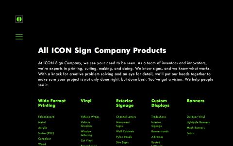 Screenshot of Products Page iconsign.company - ICON Sign Company Grand Rapids - Custom Printing, Vinyl Wraps & More - captured July 4, 2018