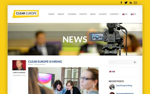 Screenshot of Press Page cleareurope.eu - News Archives - Clear Europe - captured Dec. 9, 2015