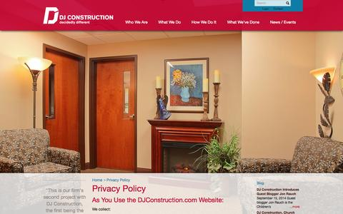 Screenshot of Privacy Page djconstruction.com - Privacy Policy - DJ Construction : DJ Construction - captured Oct. 5, 2014