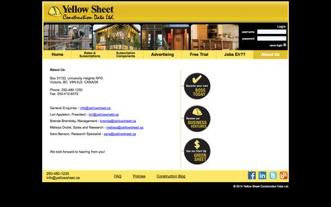 Screenshot of About Page yellowsheet.ca - About Us - captured Oct. 7, 2014