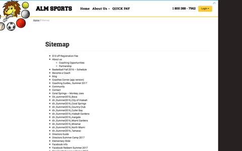 Screenshot of Site Map Page almsports.com - Sitemap - ALM Sports - captured May 17, 2017
