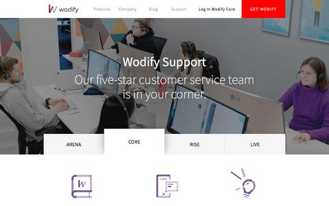 Screenshot of Contact Page Support Page wodify.com - Support - Fitness & Gym Management System  Wodify - captured Jan. 10, 2018