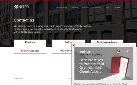 Screenshot of Contact Page netspi.com - Contact - NetSPI - captured Nov. 1, 2019