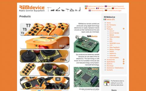 Screenshot of Products Page remdevice.com - Products - captured Dec. 15, 2016
