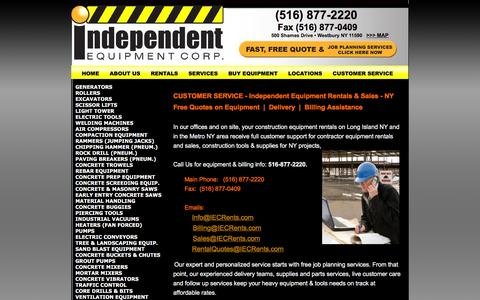 Screenshot of Support Page iecrentalny.com - Construction Equipment Rentals in NY Long Island –CUSTOMER SERVICE for  Compressor, Lighting Tower & All Rentals NY - Independent Equipment Westbury - captured April 9, 2016