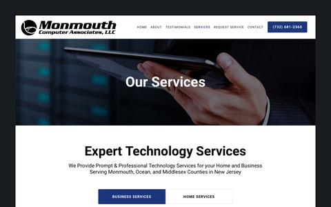 Screenshot of Services Page monmouthcomputer.com - Computer Repair & Maintenance Services - captured Sept. 20, 2018