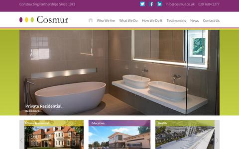 Screenshot of Home Page cosmur.co.uk - Cosmur Construction | Constructing Partnerships Since 1973 - captured Sept. 4, 2017