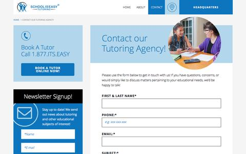 Screenshot of Contact Page schooliseasy.com - Contact our Canadian Tutoring Agency! - captured Nov. 19, 2016