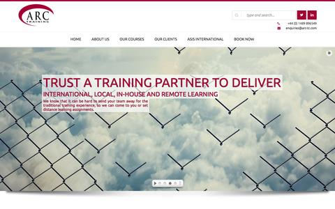 Screenshot of Home Page arc-tc.com - Home | ARC Training - captured Nov. 21, 2016