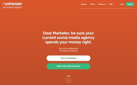 Screenshot of Home Page sotrender.com - Sotrender. No-bullshit analytics. Analyze and optimize your marketing over social media. - captured June 15, 2017