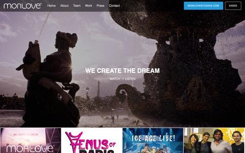 Screenshot of Home Page monlove.com - MONLOVE | We Create The Dream - captured Jan. 9, 2016