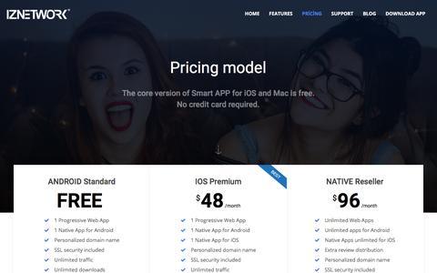 Screenshot of Pricing Page iznetwork.com - Pricing   IZNETWORK - captured Sept. 19, 2018