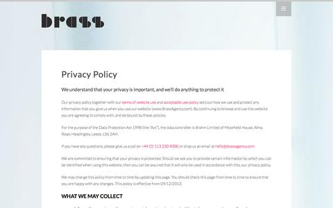 Screenshot of Privacy Page brassagency.com - Every Company has one, this is our Privacy Policy | Brass Agency - captured Sept. 23, 2014