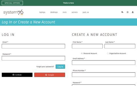 Screenshot of Login Page system76.com - My Account - System76 - captured Nov. 8, 2018