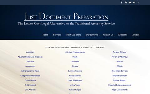 Screenshot of Services Page justdocprep.com - Document Preparation Services in Riverside, Murrieta and Rancho Cucamonga - captured Oct. 14, 2018