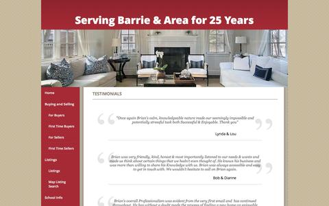 Screenshot of Testimonials Page barrierealty.com - Testimonials - Brian McCracken, Royal LePage First Contact Realty - captured Oct. 7, 2014