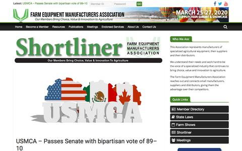 Screenshot of Press Page farmequip.org - News – Farm Equipment Manufacturers Association - captured Jan. 17, 2020